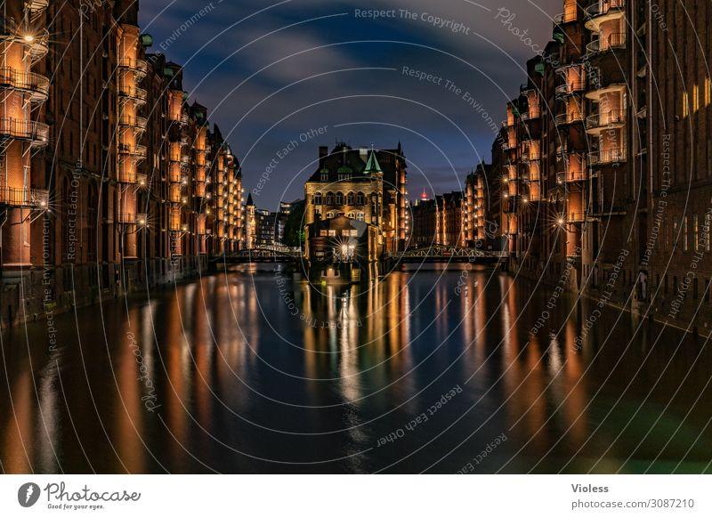 Moated castle Hamburg Speicherstadt II Night life Maritime Historic Esthetic Architecture Harbour Red Attraction City Harbor city Illuminate Illumination bridge