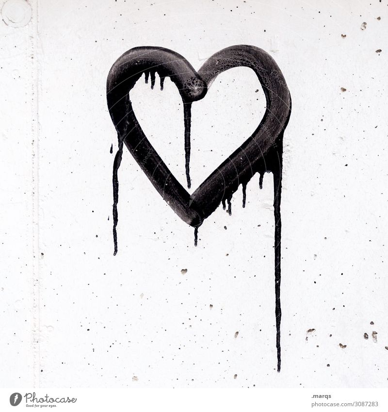 Sweet Wall (barrier) Wall (building) Graffiti Heart Trashy Black White Emotions Love Infatuation Loyalty Romance Relationship Transience Dye Black & white photo