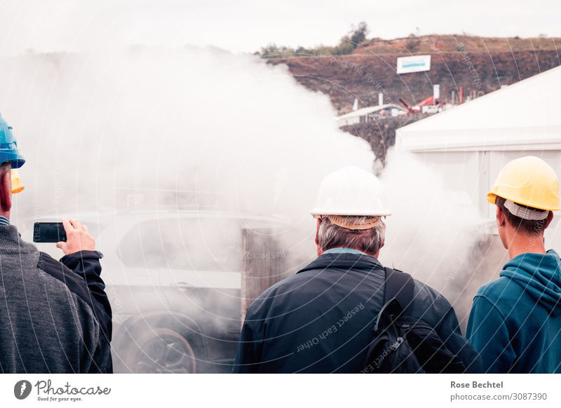 spectators Industry Construction site Technology Human being Masculine Group Car Helmet Observe White Interest Advancement Mobility Environment Smoke