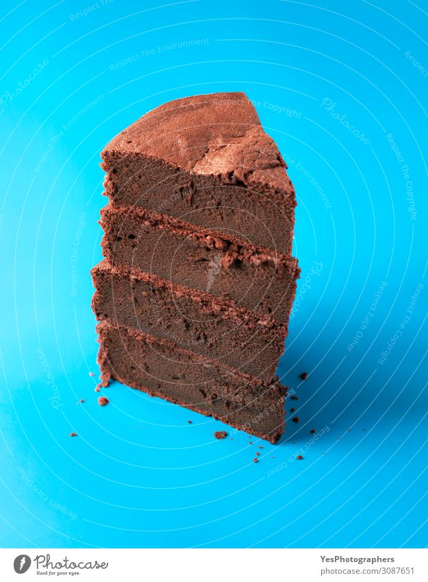 Kladdkaka slices in a stack. Pile of chocolate cake pieces Blue Brown Fresh Happiness Candy Cake Tradition Dessert Chocolate Accumulation Stack Vertical