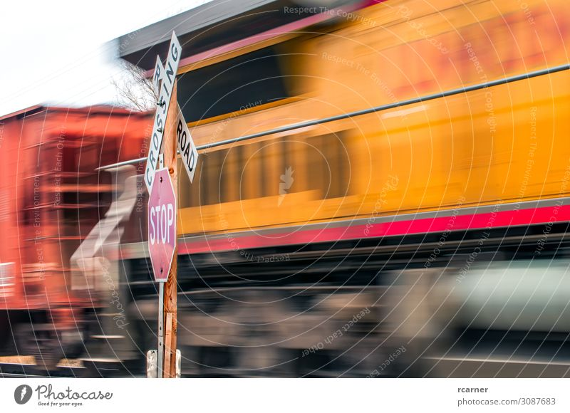 Waiting at a Railroad Crossing Vacation & Travel Industry Transport Traffic infrastructure Train travel Street Crossroads Road junction Road sign Engines