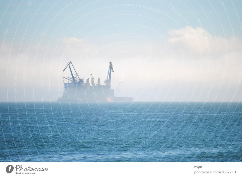 Tanker ship in the fog on the sea ghost ship Oil tanker Fog Navigation tankers Ocean Container ship Misty atmosphere Shroud of fog Fog bank Ghosts & Spectres
