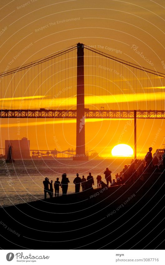 Sunset behind the bridge on the Tagus River in Lisbon Portugal Bridge Back-light Vacation & Travel Sunlight Evening Twilight Tourism Summer Contrast Silhouette