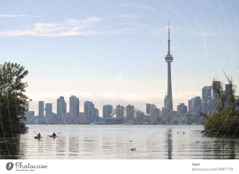 Toronto Canada Skyline with Lake Ontario and Boats CN Tower Summer High-rise Panorama (View) Town Tourism Vacation & Travel Wanderlust North America