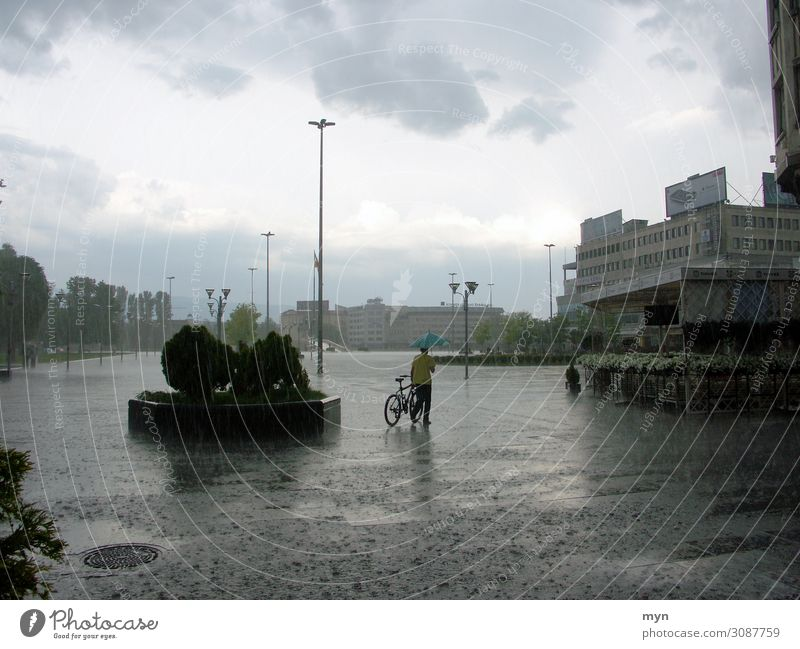 downpour Water Drops of water Sky Clouds Summer Climate Climate change Weather Bad weather Storm Gale Rain Thunder and lightning Hail Albania Town