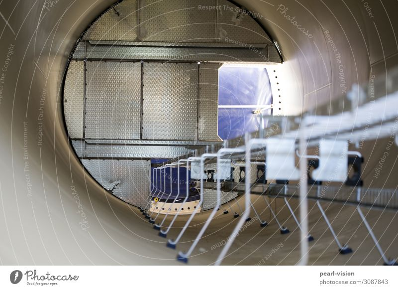 inside the tube Rung Technology Advancement Future Renewable energy Wind energy plant Cold Above Round Colour photo Exterior shot Day