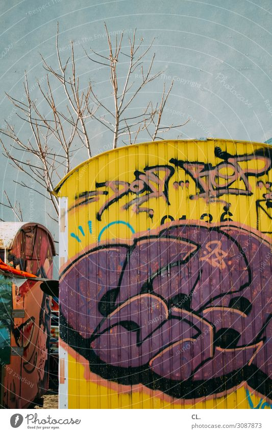 Container Love Tree Deserted Wall (barrier) Wall (building) Site trailer Graffiti Dirty Authentic Town Multicoloured Inspiration Creativity Decline Colour photo