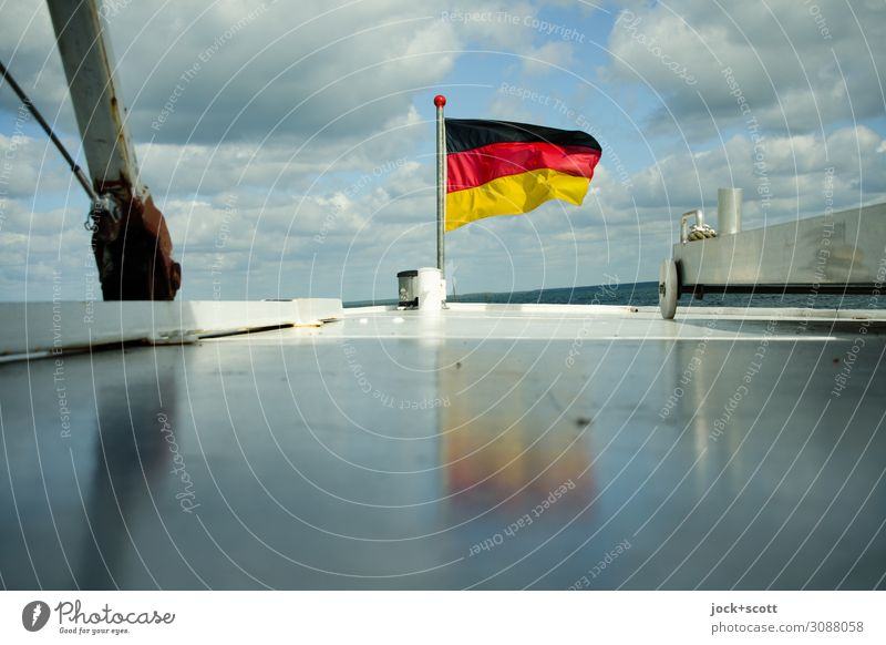 wind-water waves Trip German Flag Clouds Müritz Boating trip Metal Stripe Driving Glittering Maritime White Moody Optimism Freedom Horizon Vacation & Travel