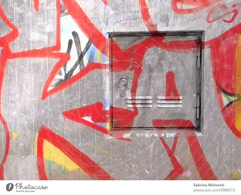 graffiti Art Industrial plant Building Wall (barrier) Wall (building) Concrete Metal Sign Graffiti Modern Crazy Gray Red Change Colour photo Exterior shot