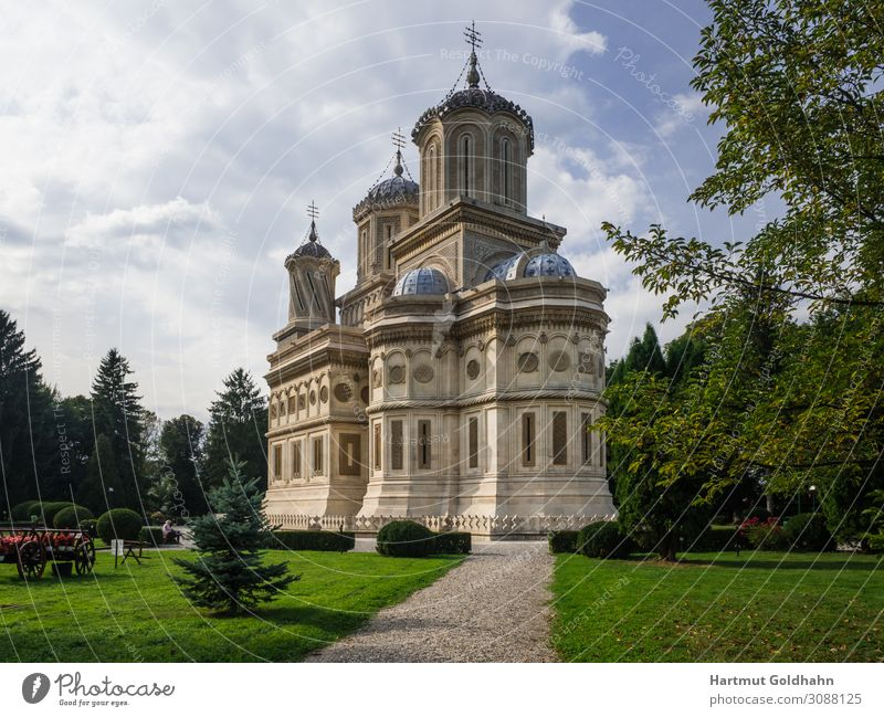 The monastery of Curtea de Arges in Romania. Vacation & Travel Tourism Sightseeing Architecture Sky Summer Park bad Europe Church Building Tourist Attraction