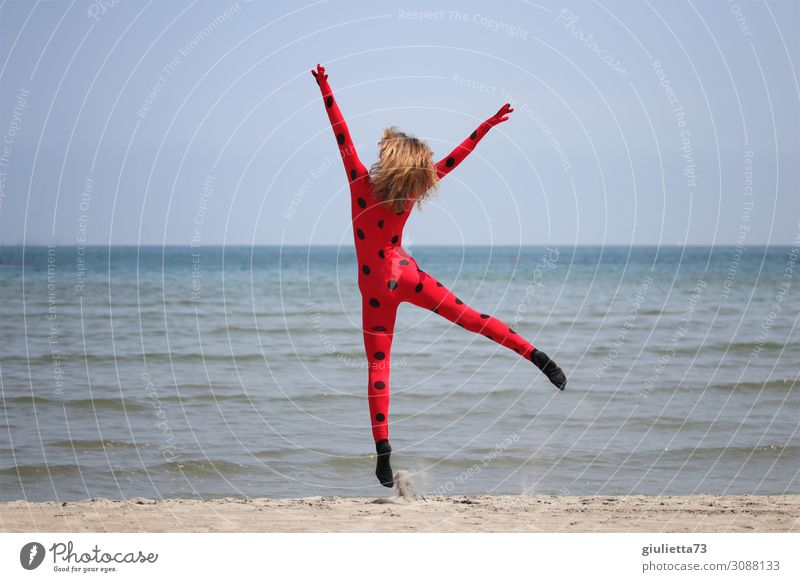 Child Human being Vacation & Travel Youth (Young adults) Young woman Summer Red Ocean Girl Beach Life Happy Exceptional Freedom Fashion Jump