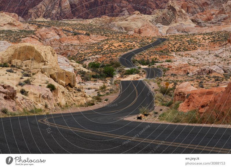 On the road again in the Valley of Fire Vacation & Travel Trip Far-off places Nature Landscape Rock Traffic infrastructure Street Exceptional Orange Adventure