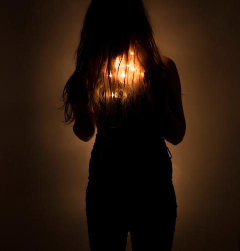 Girl with chain of lights under her hair (fairylights) Feminine Young woman Youth (Young adults) Hair and hairstyles Art Fairy lights Illuminate Fantastic