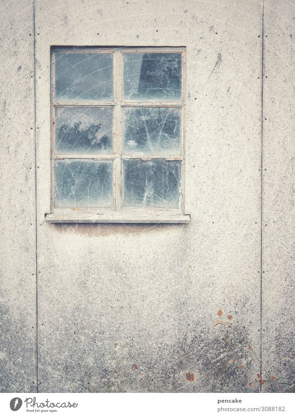 blind vision Fishing village Port City Deserted Hut Window Authentic Simple Retro Town Thrifty Stagnating Decline Past Transience Colour photo Subdued colour