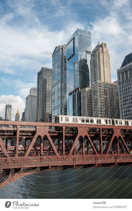 Chicago Subway Bridge 01 Vacation & Travel Blue Town Red Architecture Transport High-rise Shopping Tall Railroad Skyline City trip Downtown Bank building