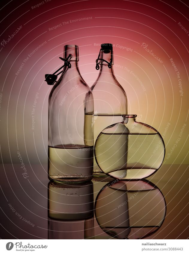 Colour Beautiful Water Red Lifestyle Yellow Style Art Elegant Glass Beverage Mirror Thin Still Life Bottle Vase