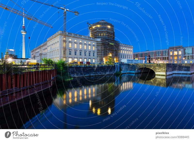 Construction site Berlin City Palace House (Residential Structure) Museum Architecture Water Night sky River Spree Downtown Berlin Town Capital city Old town