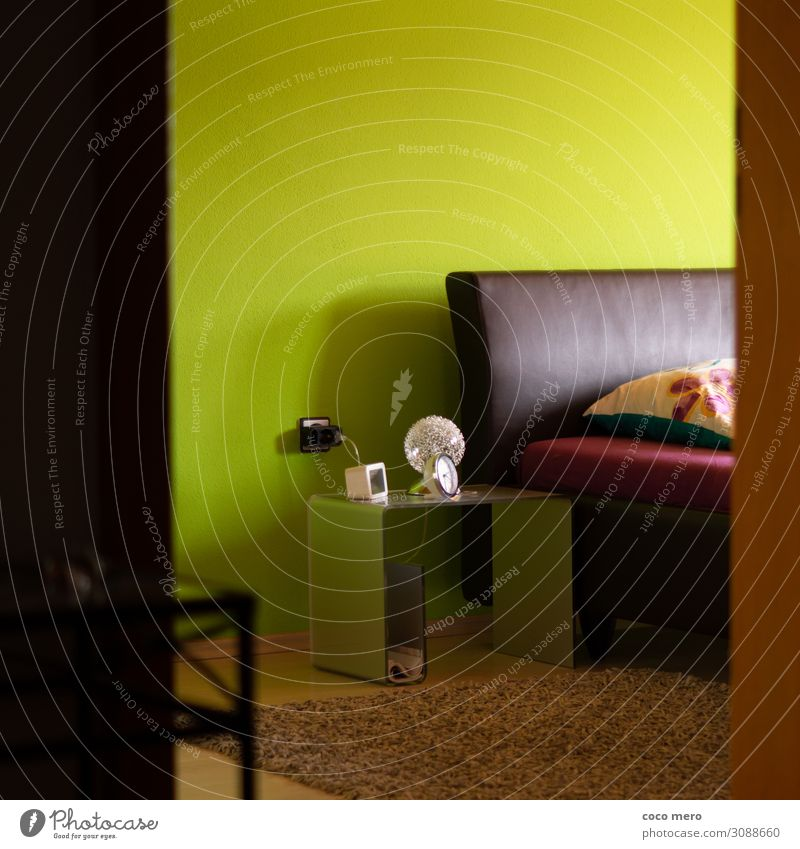 Bedroom Flat (apartment) Arrange Interior design Room Living or residing Brown Green Safety (feeling of) Colour photo Interior shot Deserted Day