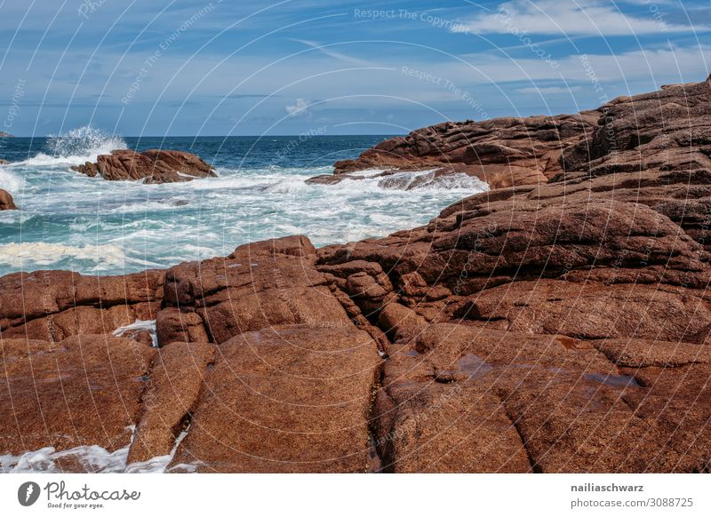 Pink Granite Coast Lifestyle Vacation & Travel Tourism Summer Summer vacation Beach Ocean Environment Nature Landscape Sand Gale Rock Waves Lakeside Brittany