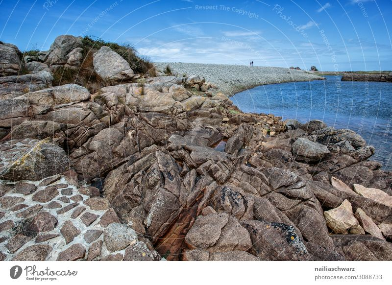 Pink Granite Coast Vacation & Travel Tourism Adventure Far-off places Summer Summer vacation Beach Environment Landscape Rock Bay Ocean Atlantic Ocean Brittany