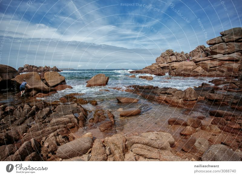 Pink Granite Coast Summer Beach Environment Nature Landscape Sand Air Water Sky Beautiful weather Rock Bay Ocean Atlantic Ocean France pink granite coast