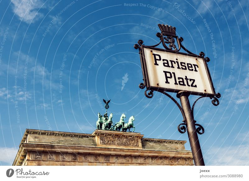 Parisian Sky Berlin Capital city Places Gate Brandenburg Gate Pariser Platz Facade Tourist Attraction Monument Stone Ornament Signs and labeling Old Large