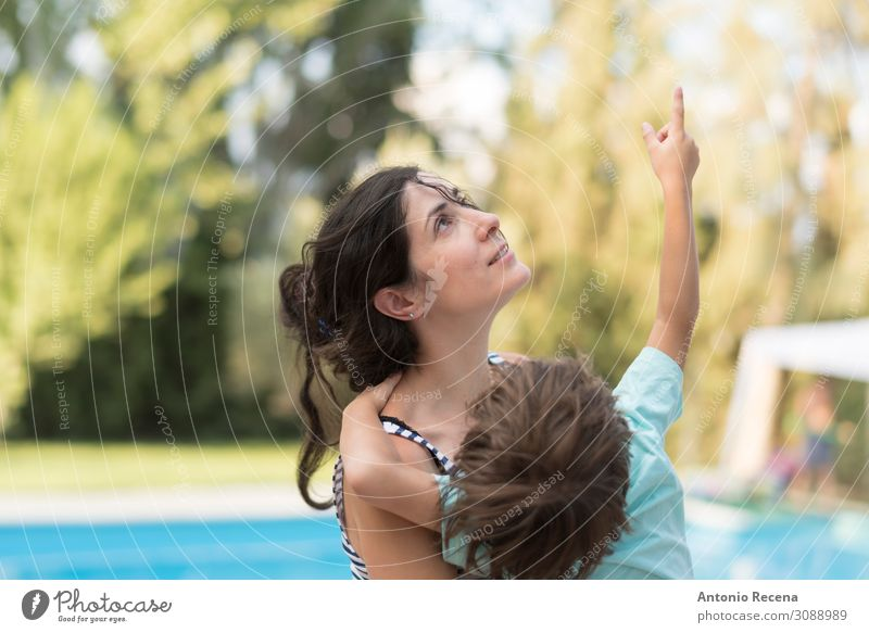 Boy with his mother in summer day at home backyard. Woman Child Human being Sky Lifestyle Adults Love Family & Relations Happy Boy (child) Garden Infancy
