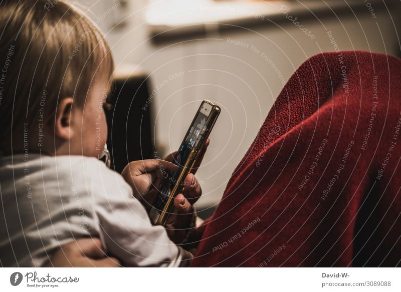Mother and toddler with mobile phone in hand Child by hand Retentive Fingers Adults Colour photo Indicate Infancy Responsibility Entertainment electronics