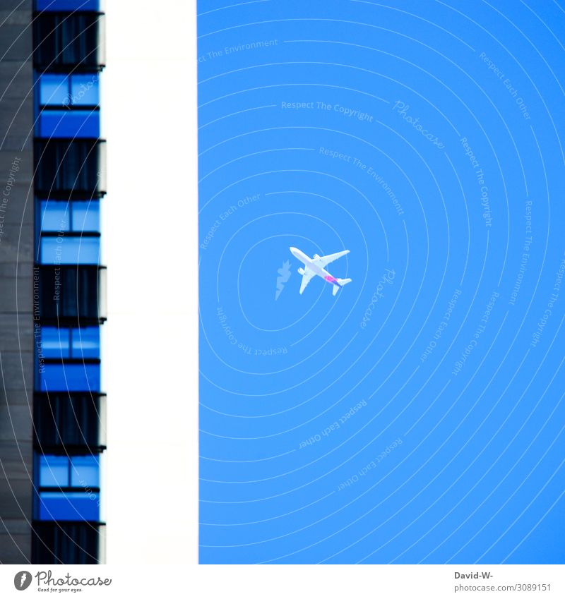 Part of a building with aircraft in the background Airplane Flying Town vacation Sky Vacation & Travel Aviation Blue Colour photo Aerial photograph Tourism