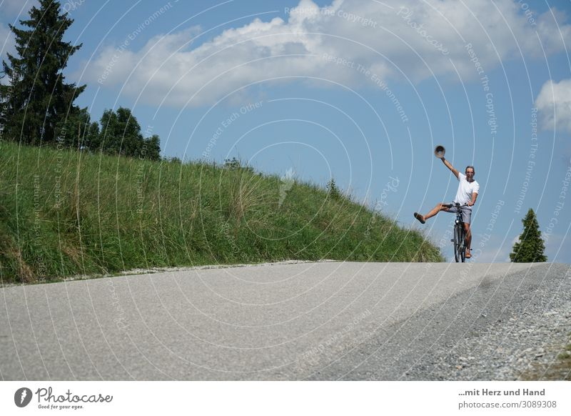Exuberant cyclist Life Leisure and hobbies Cycling tour Summer Masculine Man Adults 1 Human being 45 - 60 years Happiness Natural Blue Green White Joy