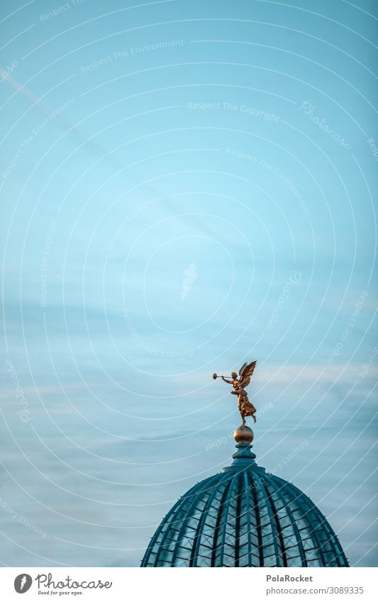 #A# Angel love Art Work of art Esthetic Culture Manmade landscape Cultural monument Cultural center Dresden Saxony Statue Roof Domed roof Colour photo