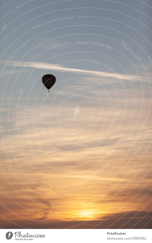 #A# Good Morning Art Esthetic Sunrise Hot Air Balloon Balloon flight Flying Colour photo Subdued colour Exterior shot Detail Deserted Copy Space left