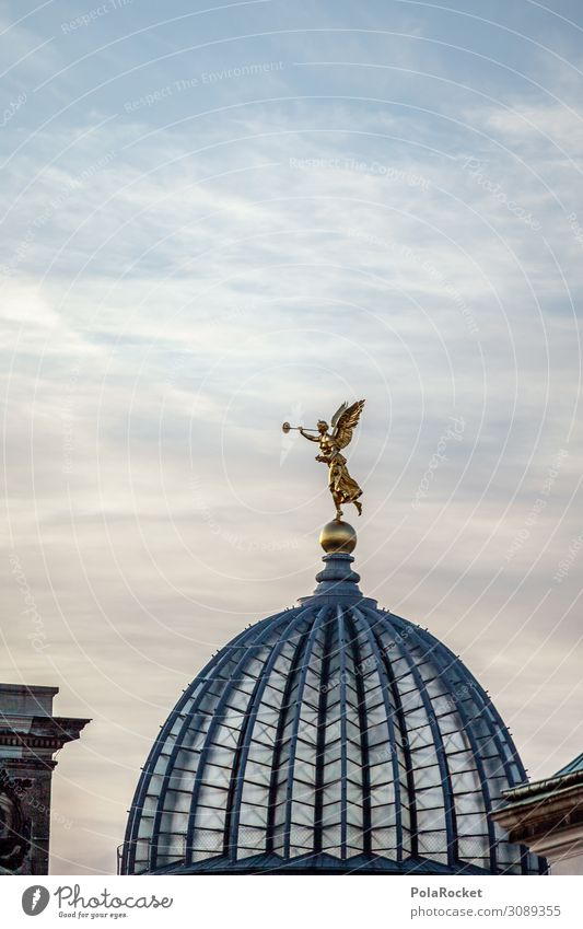 #A# Dome gold Art Work of art Esthetic Angel Statue Domed roof Dresden Saxony Colour photo Subdued colour Exterior shot Detail Experimental Abstract Deserted