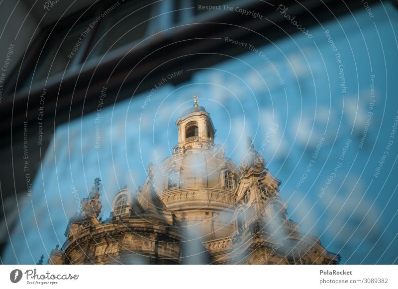 #A0# Old lady Art Esthetic Dresden Saxony Frauenkirche Reflection Domed roof Historic Buildings Old town Tourist Attraction Tourism Colour photo Subdued colour