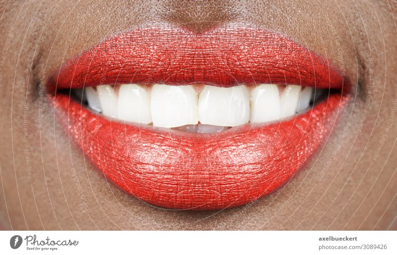 Red lips white teeth Beautiful Make-up Lipstick Health care Human being Feminine Young woman Youth (Young adults) Woman Adults Mouth Teeth 1 18 - 30 years