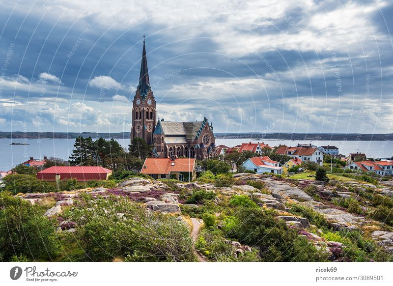 View of the town of Lysekil in Sweden Vacation & Travel Tourism Summer Ocean House (Residential Structure) Nature Landscape Water Clouds Coast North Sea Town