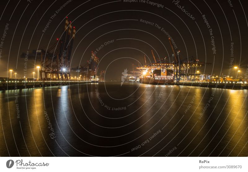 Container terminal in the harbor at night. Vacation & Travel Tourism Sightseeing City trip Work and employment Profession Workplace Factory Economy Industry