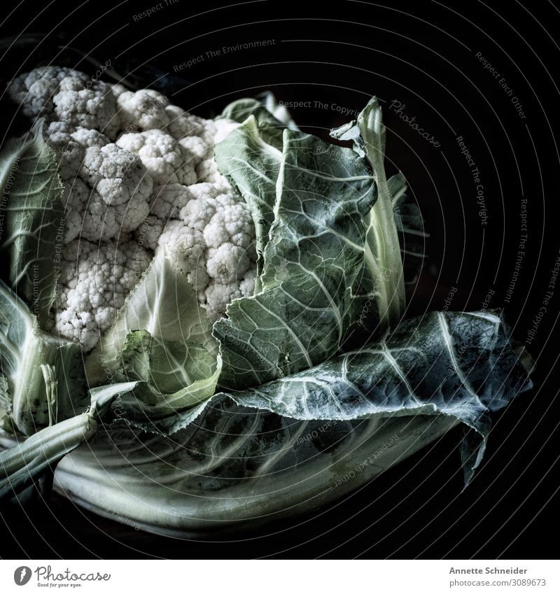 cauliflower Food Vegetable Lettuce Salad Nutrition Organic produce Slow food Plant Leaf Healthy Natural Green White Interior shot Portrait photograph Front view