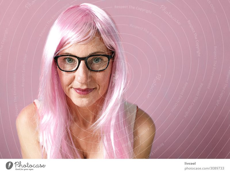 lady with pink hair smiling on pink background Lifestyle Happy Human being Feminine Woman Adults Female senior Head Hair and hairstyles Face Eyes Lips 1
