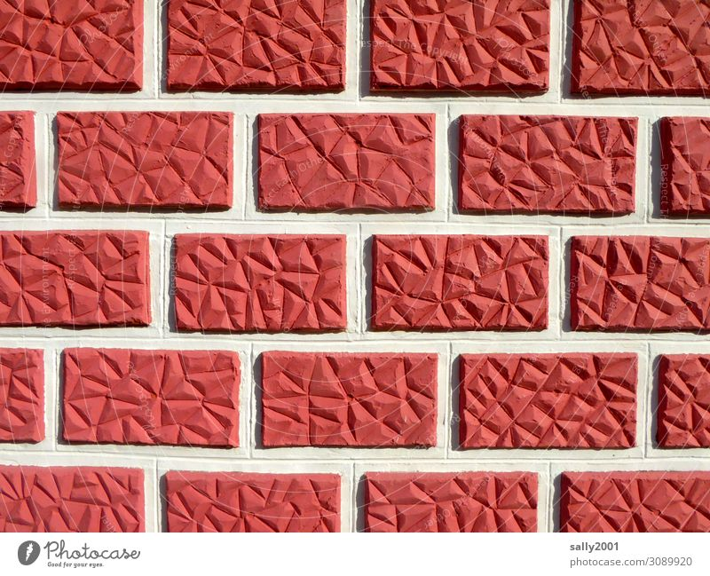 Basque wall Basque Country House (Residential Structure) Wall (barrier) Wall (building) Facade Esthetic Exceptional Sharp-edged Red Seam Stone wall Brick