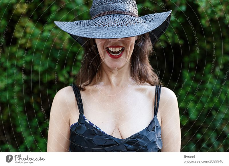 woman with black pamela laughing , spain Woman Human being Nature Plant Beautiful Green Tree Leaf Joy Black Face Lifestyle Adults Feminine Emotions