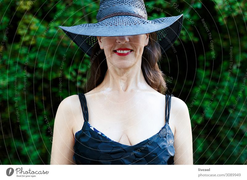 woman with black pamela and black dress smiling Lifestyle Happy Face Garden Woman Adults Nature Plant Tree Leaf Park Places Terrace Clothing Dress Hat To enjoy