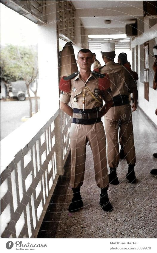 Foreign Legionnaire in Parade Uniform Djibouti 1988 Human being Masculine Man Adults 18 - 30 years Youth (Young adults) Enthusiasm Honor Bravery Self-confident