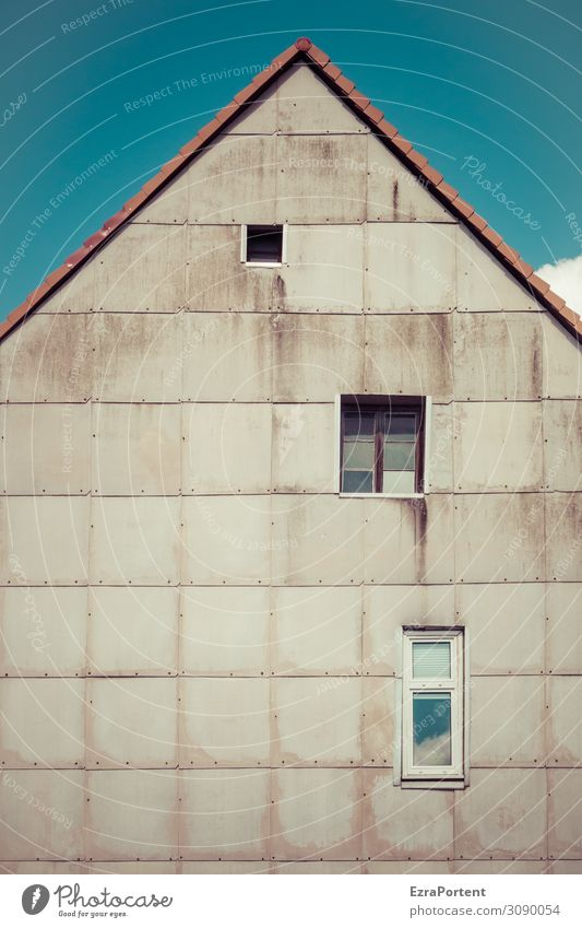 /\ Sky House (Residential Structure) Manmade structures Building Architecture Wall (barrier) Wall (building) Facade Window Roof Line Old Dirty Blue Gray Corner