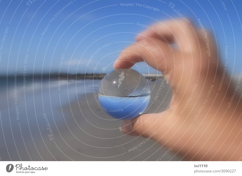 Beach by glass ball Nature Landscape Cloudless sky Horizon Summer Waves North Sea Island Magnifying glass Glass Blue Brown Black White Glass ball