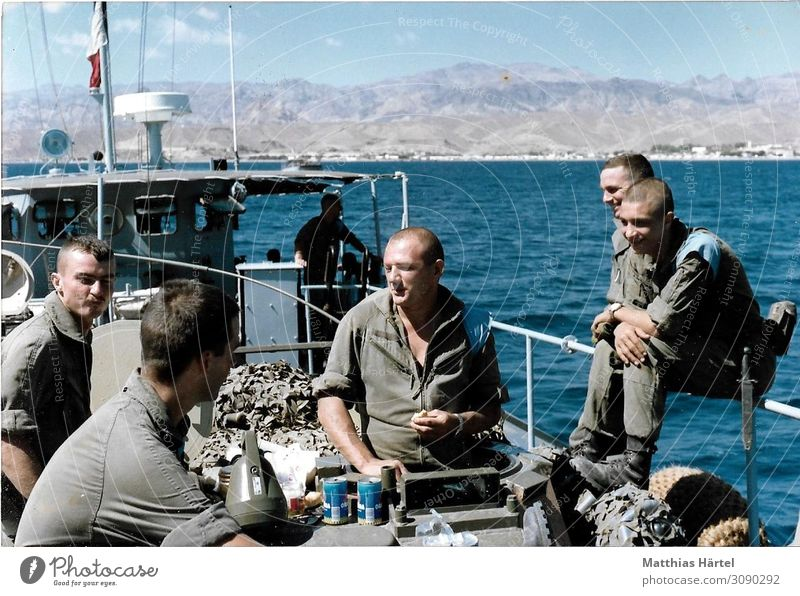 Foreign Legionary Landing Boat Golf Djibouti 1989 Human being Masculine Group 18 - 30 years Youth (Young adults) Adults Emotions Colour photo Exterior shot