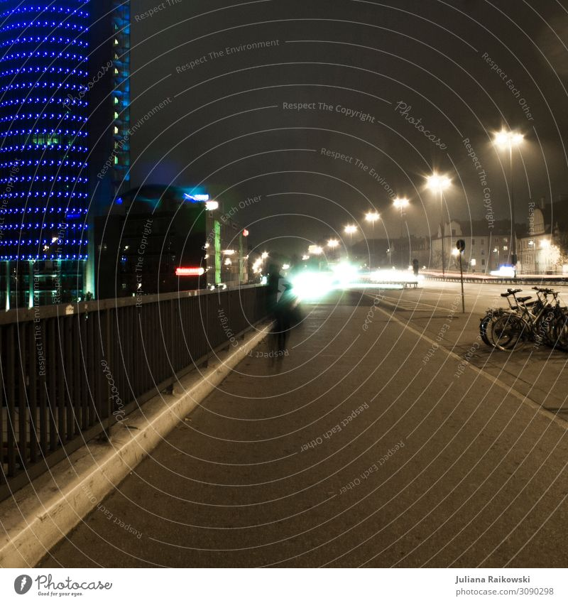 At night in the city Human being 1 Munich Town Capital city High-rise Industrial plant Architecture Transport Traffic infrastructure Road traffic Motoring