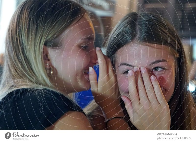 Two girls-teenagers whispering quietly and laughing Face Manicure Mascara Athletic Vacation & Travel Freedom Summer vacation Night life Restaurant Bar