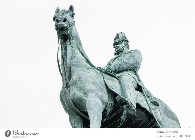 Statue Hamburg #1 Figure rainy Clouds Germany Northern Germany Rider Horse