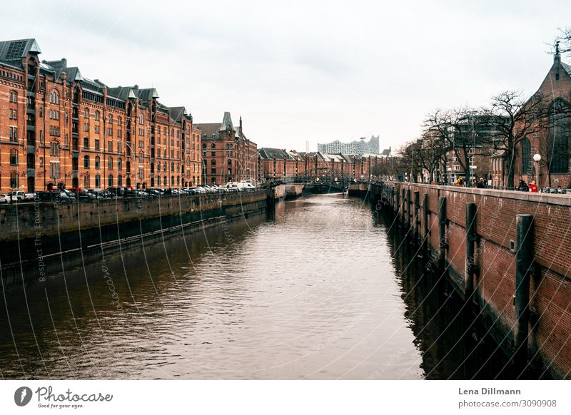 Hambur Channel & Elbe Philharmonic Hamburg Town Cities House (Residential Structure) houses Clouds rainy bridge Germany Northern Germany Street Landscape format